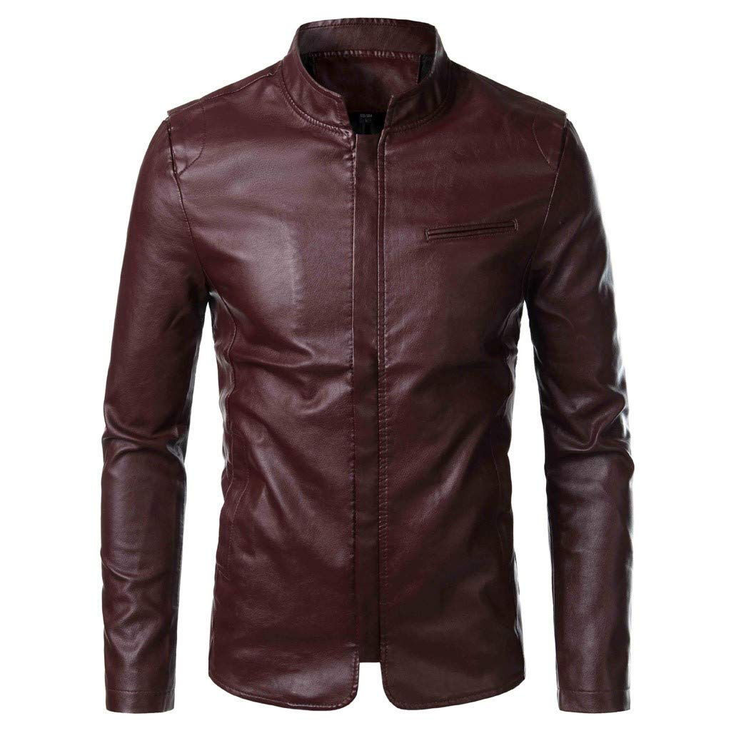 Redacel Mens Leather Jacket Full-Zip Motorcycle Thermal Bomber Jacket Outwear for Men Coat Top (Wine,M) by Redacel