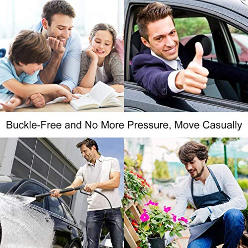 WERFORU 4 Pack No Buckle Show Belt for Men Buckle Free Stretch Belt for Jeans Pants 1.38 Inches Wide (C-Black+Coffee+Blue+Yellow, Suit for Pants Size 30