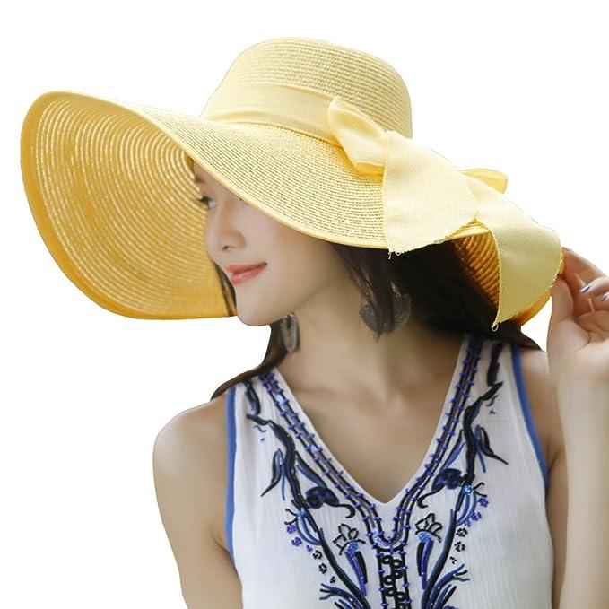 78372a2edc427 kaisifei Bowknot Casual paja sombrero playa de verano sombreros Gran Ala  Ancha De Mujer