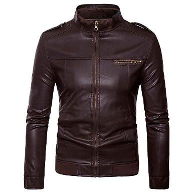 Logobeing Chaqueta de Cuero Hombre Moto Biker Motocicleta con Cremallera Deportiva Outwear Camisas Hombre Abrigos Tops