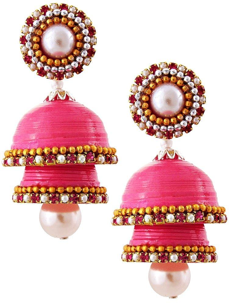 Hancrafted Single Stud Pink Double Jhumka