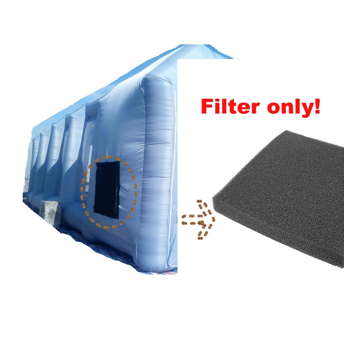 Inflatable Spray Booth with Filter System Portable Car Paint Booth for Car Parking Tent Workstation (Blue, 65655CM) by LIVIQILY