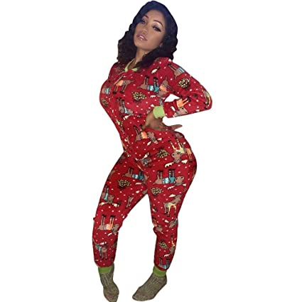44485af756 Image Unavailable. Image not available for. Color  Fiaya Women s Christmas  Causal Print Long Sleeve Bodycon Romper Jumpsuit Pajamas Sleepwear ...