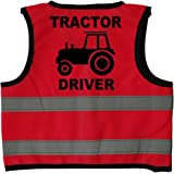 Tractor Driver Baby/Children/Kids Hi Vis Safety Jacket/Vest Sizes 0 to 8 Years Optional Personalised On Front