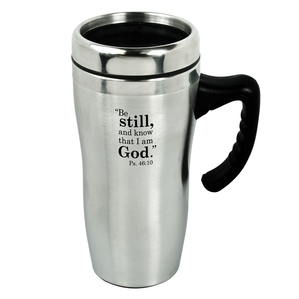 ''Be Still and Know'' Stainless Steel Travel Mug w/Handle by Christian Art Gifts