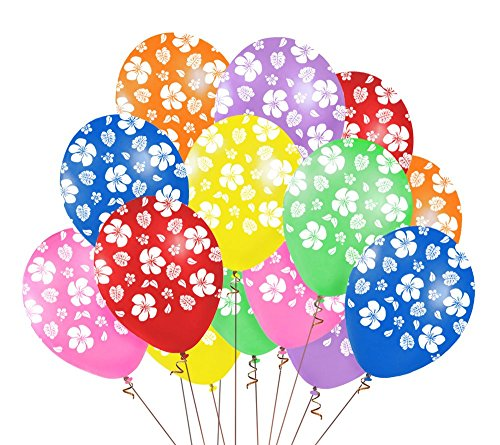Moon Boat 48PCS Hawaiian Luau Tropical Party Balloons Birthday Decorations - Hibiscus Flowers Leaves Summer Supplies -