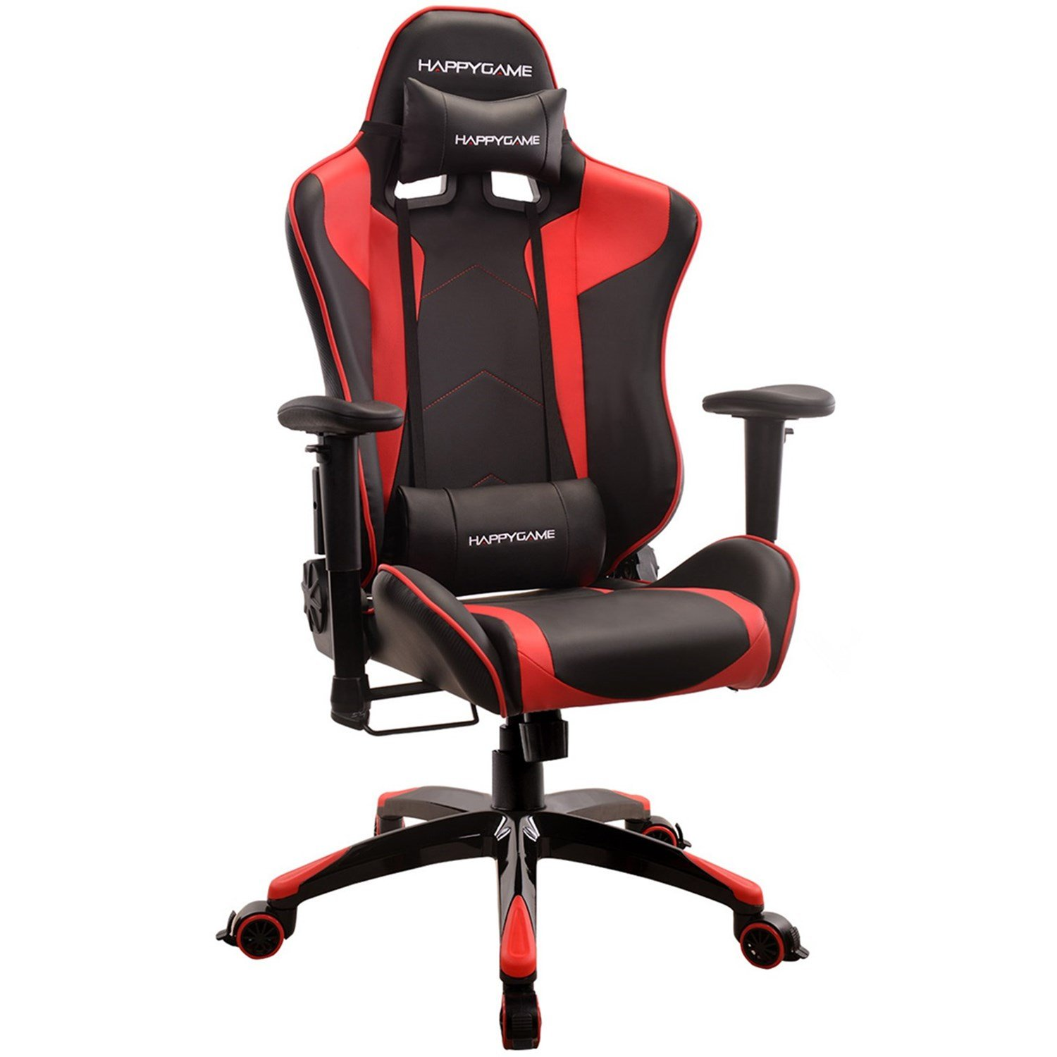 HAPPYGAME Racing Gaming Chair Oversized High Back Ergonomic Swivel Computer Chairs Executive Office Chair with Headrest and Lumbar Support, Black AS-02-Black