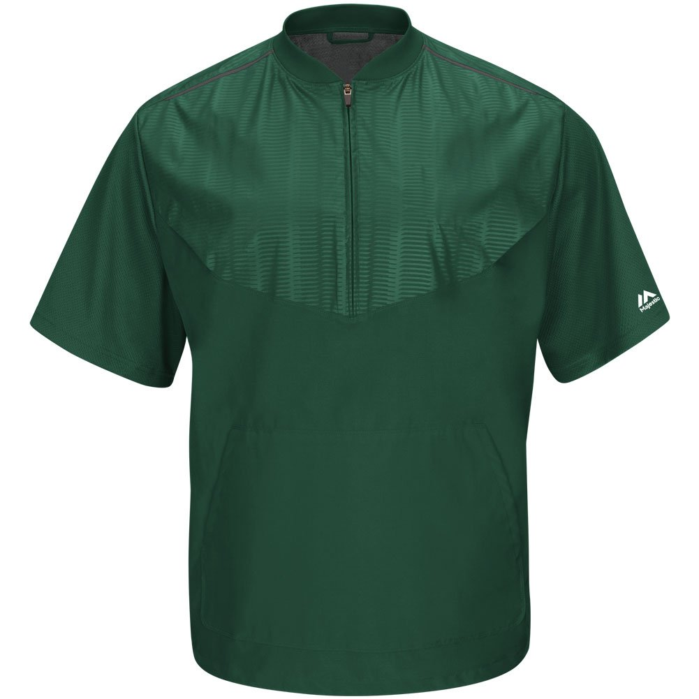 Majestic Youth Cool Base半袖トレーニングジャケット B015G7P2TU XL|Dark Green|grey Dark Green|grey XL