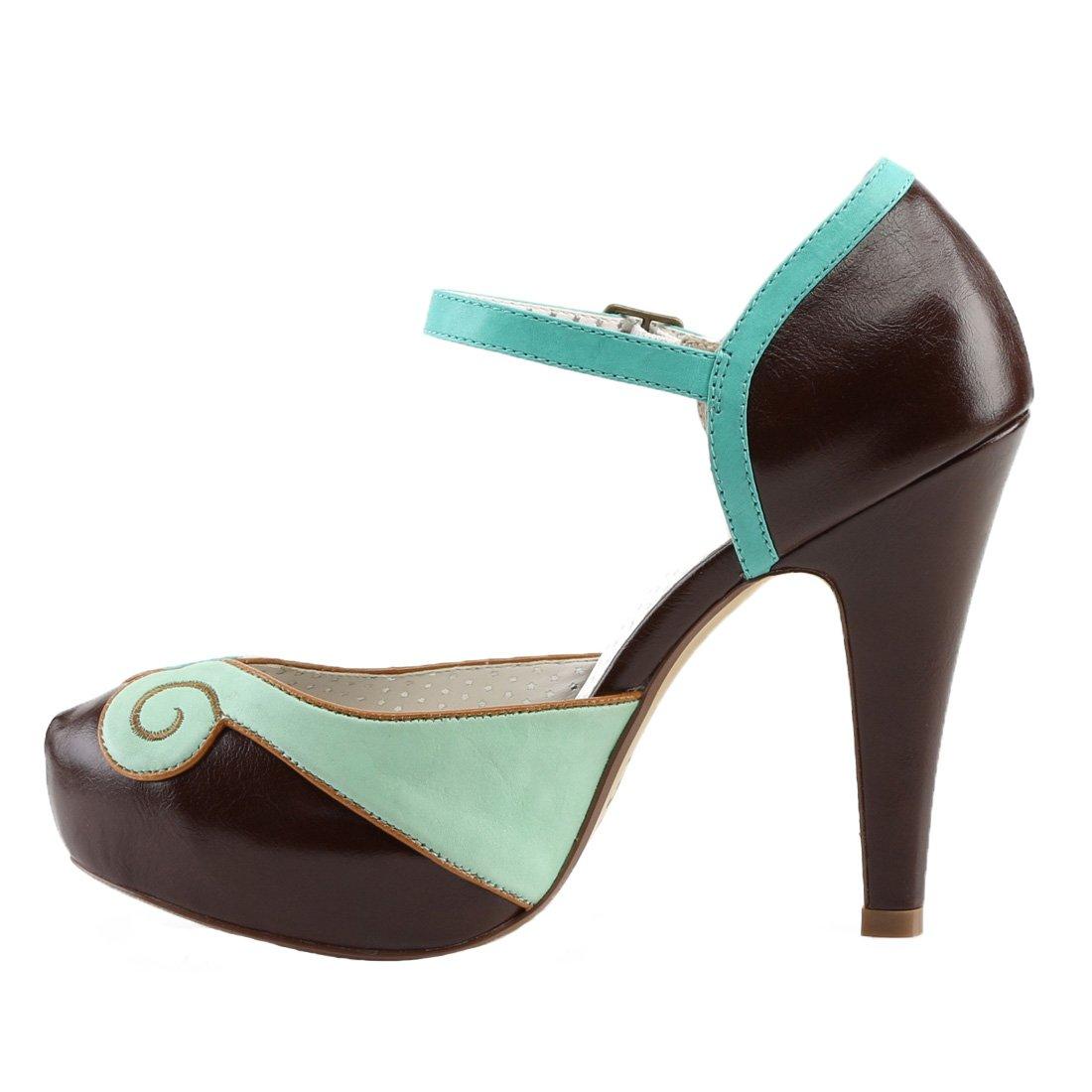Pin up Couture BETTIE-17 Teal-Braun Leder Faux Leder Teal-Braun f128e4