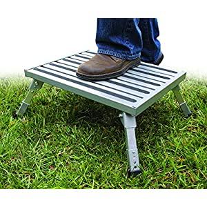 Camco Adjustable Height Aluminum Platform Step- Supports Up to 1,000lbs, Includes Non-Slip Rubber Feet, Durable Construction, Easy Storage and Transport (43676)