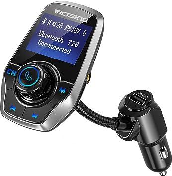 Entr/ée AUX,Affichage LCD Carte SD Transmetteur FM Bluetooth Kit de Voiture sans Fil Mains-Libres Adaptateur Radio Lecteur mp3 de Voiture avec Lecteur de Musique Soutient Cl/é USB
