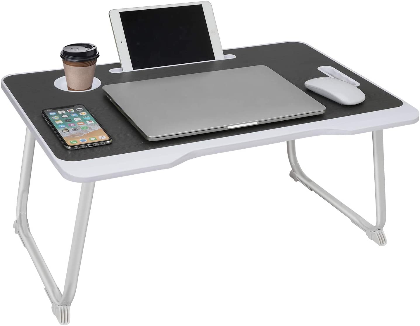 Phyllia Laptop Bed Tray Table,Foldable Lap Desk Stand with Cup Holder for Eating, Working, Writing, Gaming, Drawing (Black)