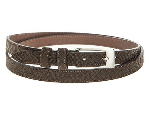 Cintura Donna 2cm Vitello Stampa Pitone Colore Testa di Moro Fibbia Nikel