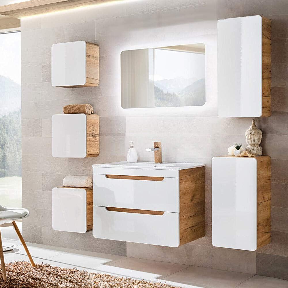 Lomadox Badezimmermöbel Set mit 80cm Waschtisch & LED-Spiegel, Hochglanz weiß mit Wotaneiche, B/H/T ca. 180/200/46cm 1