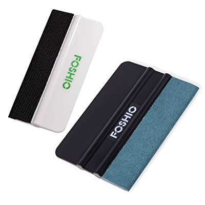 FOSHIO Vinyl Car Wrap Install Tool Kit 1 Set Include Suede Felt Black 4 Inch Squeegee and White Mini Squeegee for Solar Window Film Application and Home Tint Tool Kit: Automotive