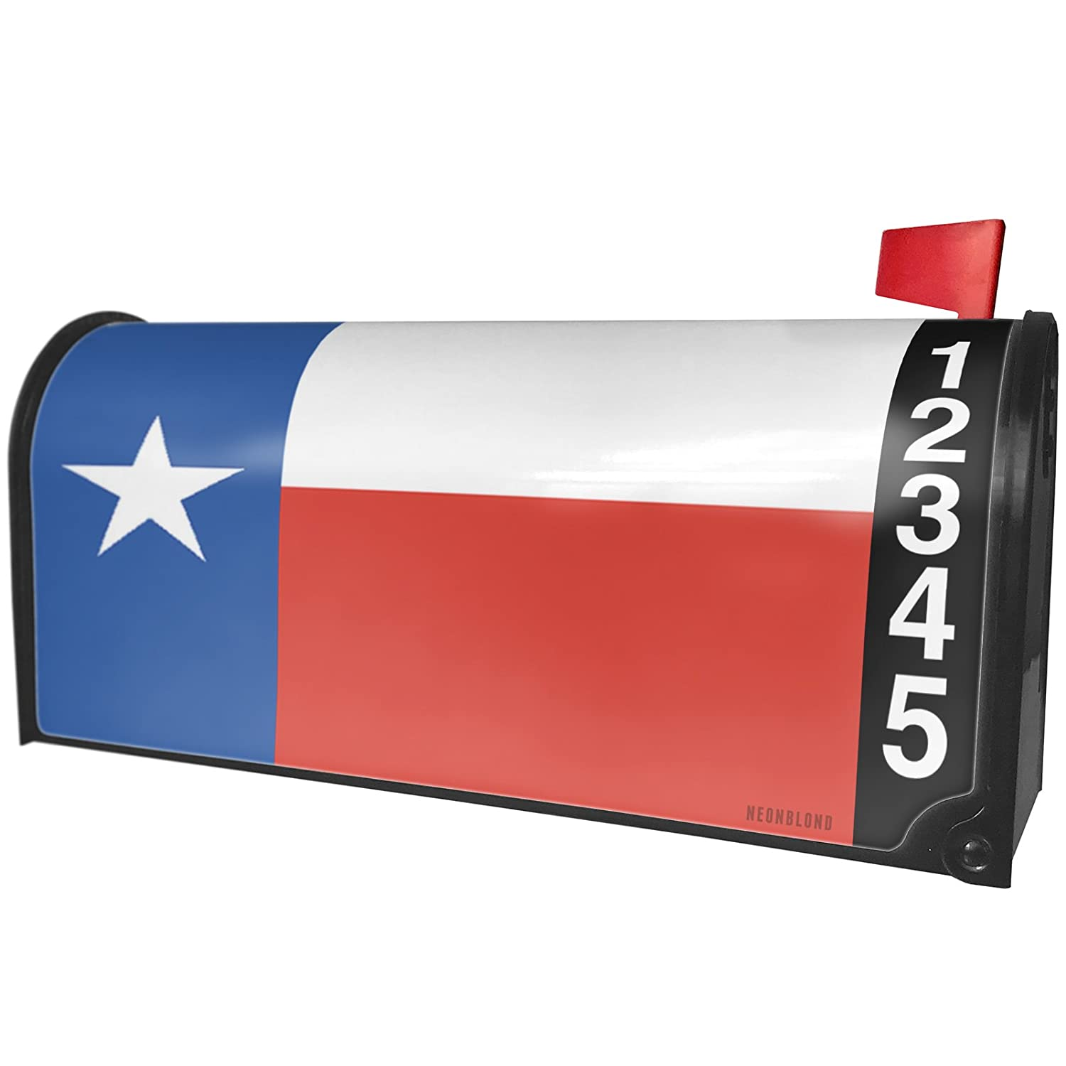 NEONBLOND Flag on Wood Texas Region USA America Magnetic Mailbox Cover Custom Numbers