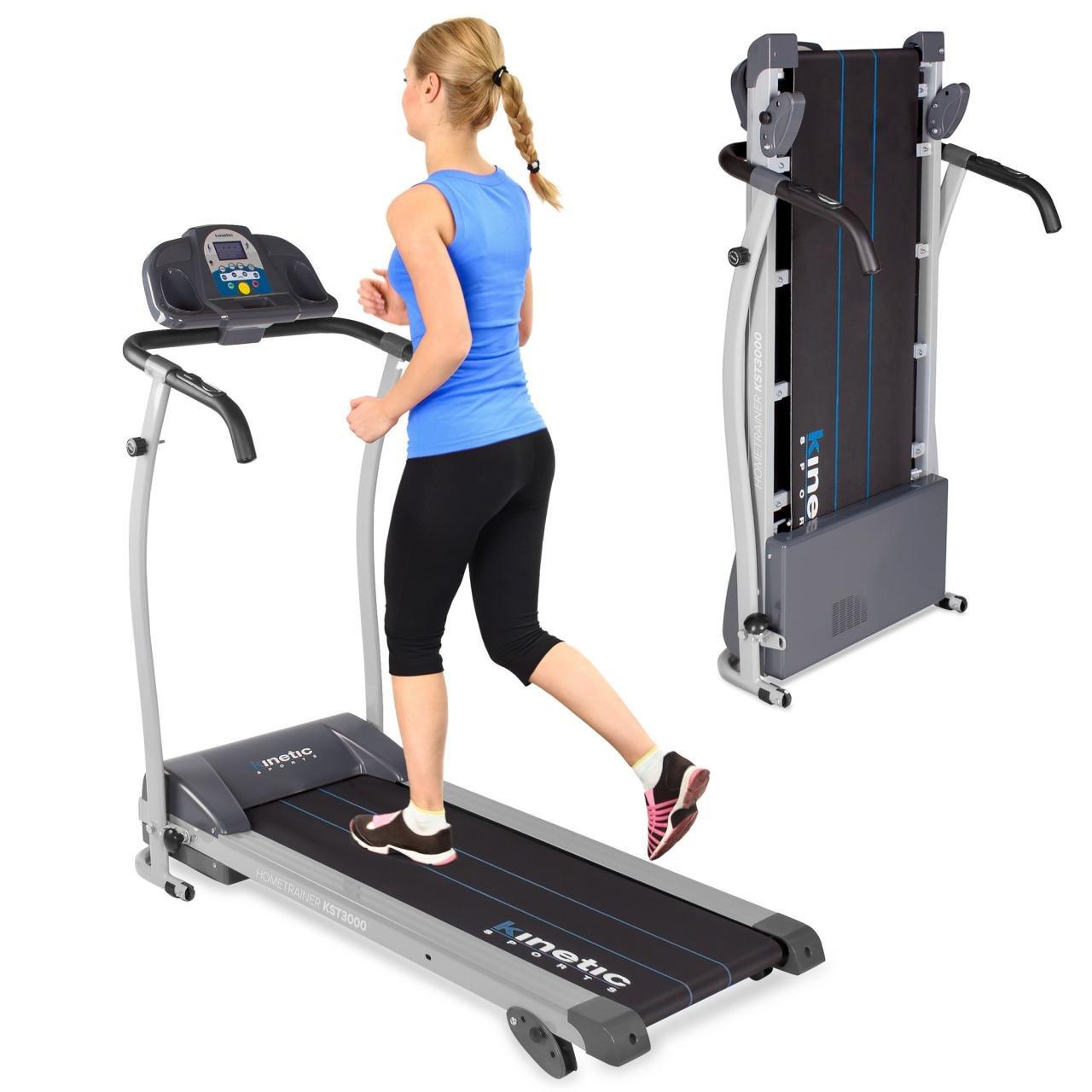 Kinetic Sports Laufband 1100 Watt 12 Trainingsprogramme für GEH- u. Lauftraining, integrierte Lautsprecher, stufenlos einstellbar bis 12 km h klappbar