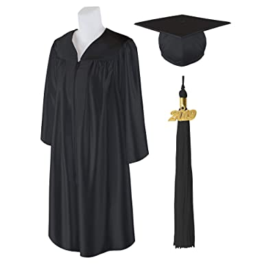 c4f54dc5a4 Adult Unisex Shiny Graduation Cap And Gown With Matching 2019 Tassel -  Black - Size Plus