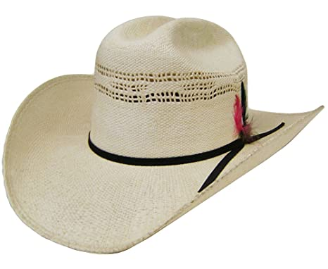 628e779f19d24 Image Unavailable. Image not available for. Color  Modestone Unisex Feather  Bangora Straw Cowboy Hat ...
