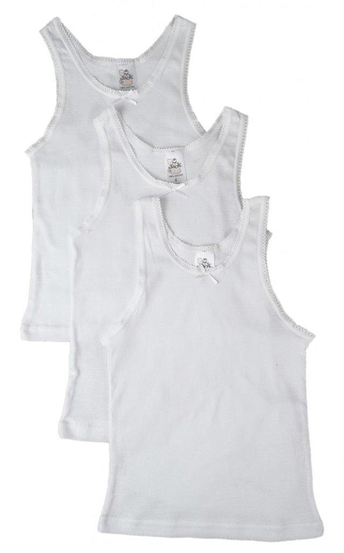 Jack 'n Jill Girls White Camisole Scoop Neck Undershirt 100% Cotton (3 Pack) 901