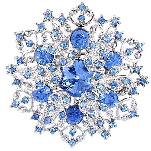 Brooch Crystal Snowflake (EVER FAITH Austrian Crystal Winter Snowflake Corsage Brooch Pin Aquamarine-Color Blue - 2 Inch x 2 Inch)