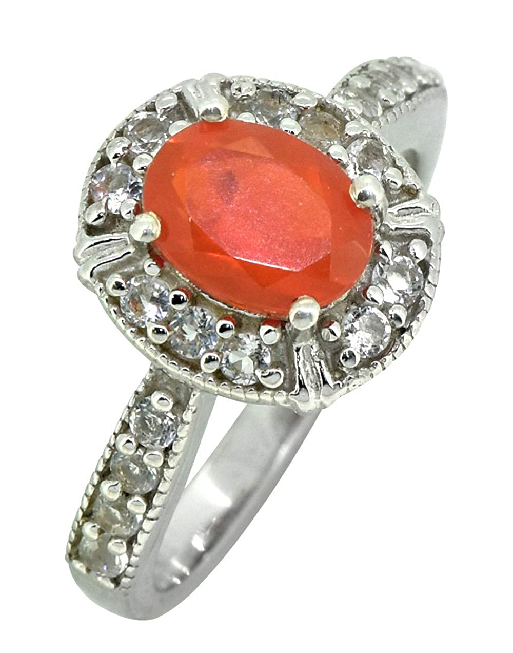 YoTreasure Red Opal White Topaz 925 Sterling Silver Designer Ring