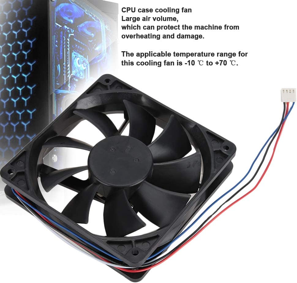 CPU Cooler 12V 12CM 3400RPM 110.6CFM 38.5DBA 4 pin CPU Cooling Fan Large Air Volume CPU Case CPU Radiator Fan