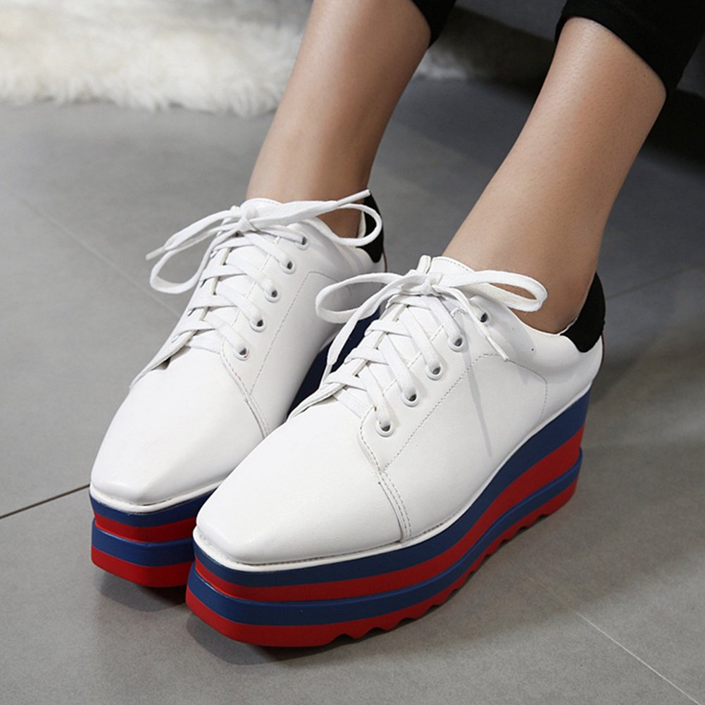 CYBLING Fashion Casual Square Toe Mid Heel Thick Sole Platform Oxford Shoes for Women by CYBLING (Image #3)