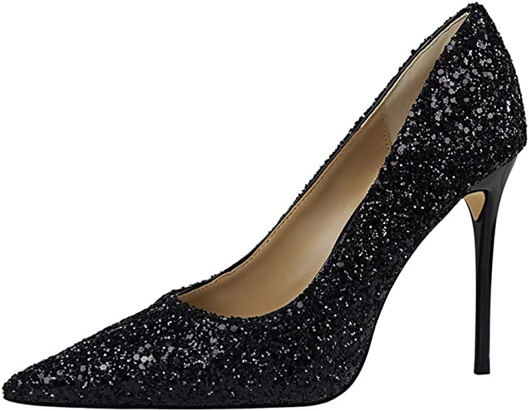 bb3ead489f Passionow Women's Dressy Glitter Bling Sequins Shallow Pointed Toe Stiletto  Heel PU Pumps Shoes (5