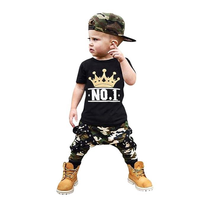 K-youth® Conjuntos Bebé Niño, Ropa Recién Nacidos Bebe Niño Camiseta de Mangas Cortas Cartas Tops T-Shirt y Camuflaje Pantalones Cortos Verano ...