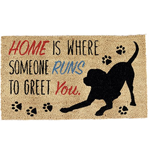 DII Natural Coir Fiber, 18x30 Entry Way Outdoor Door Mat with Non Slip Backing-Home Dog