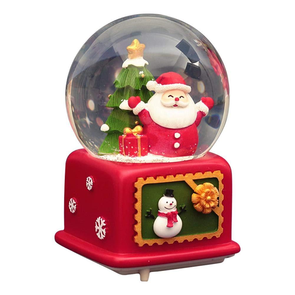 Globe de Neige de No/ël Boule /à Neige Musicale avec bo/îte /à Musique Fait /à la Main p/ère No/ël Bonhomme de Neige Arbre de No/ël Flocon de Neige Lumineux Boule de Cristal Musicale Grand Cadeau de No/ël