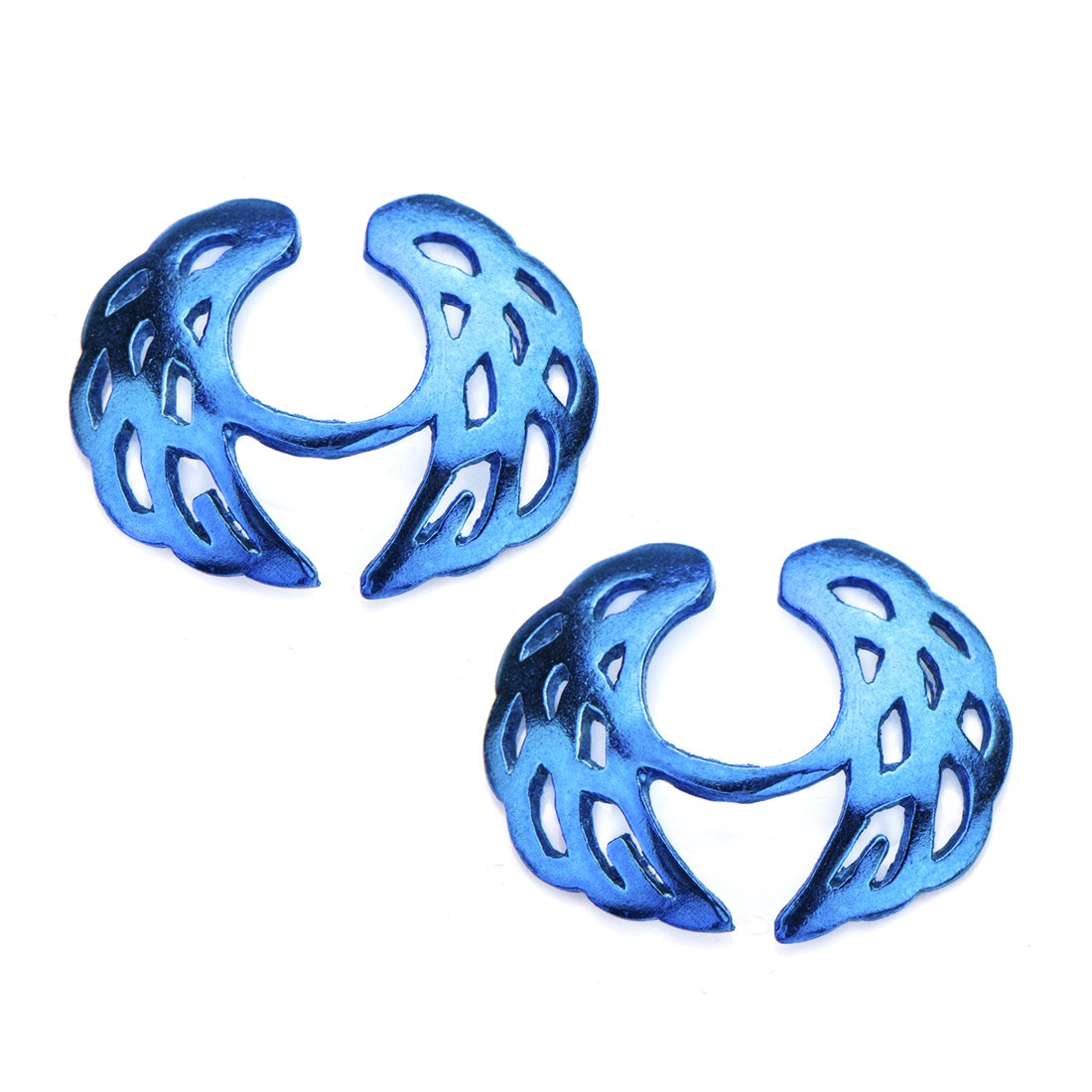 925 Sterling Silver Blue Bird Wings Clip On Nipple Jewelry. Sold as a Pair