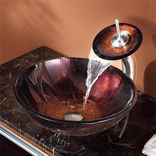 Kraus GV-682-SN Saturn Glass Vessel Bathroom Sink with PU-MR Satin Nickel free shipping