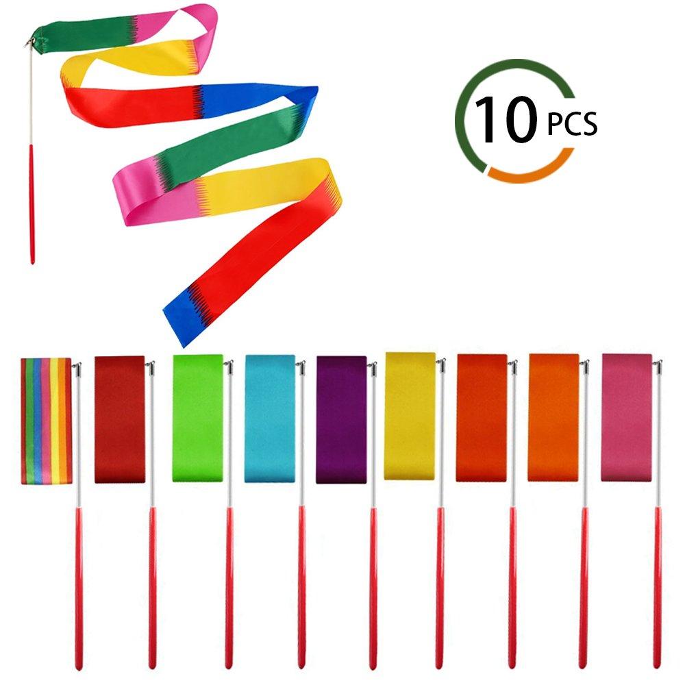 Dance Ribbons INNKER10pcs Dance Streamers Ribbons Different Colors Rhythmic Gymnastics Ribbons with Rods Dancing Ribbon Wands Dance Ribbon for Kids Art Dance, Baton Twirling, DIY Making