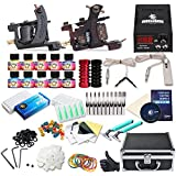 Dragonhawk Complete Tattoo Kit 2 Mate Machines 10 Color Immortal Inks Power Supply 50 Needles Tips Grips with Case 2-2YMX