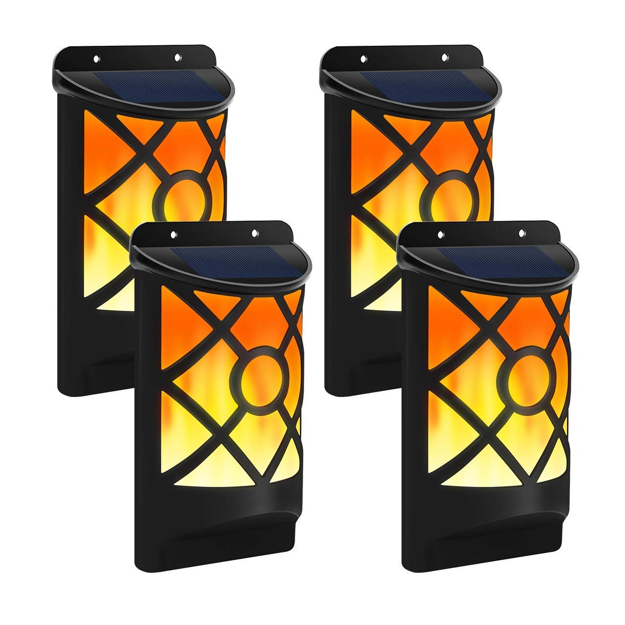 Otdair Solar Wall Lights,LED Night Lights Solar Deck Lights with Flickering Flame 66 LED Waterproof Outdoor Solar Lights for Garden Landscape Decoration Pathway Patio Fence Deck Yard 4 Pack