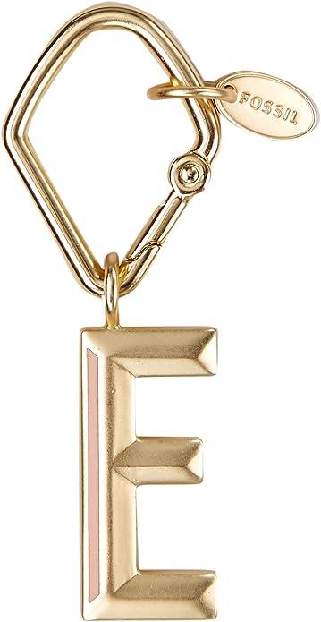 Amazon.com: Fossil Women s llavero letra E oro, Dorado ...