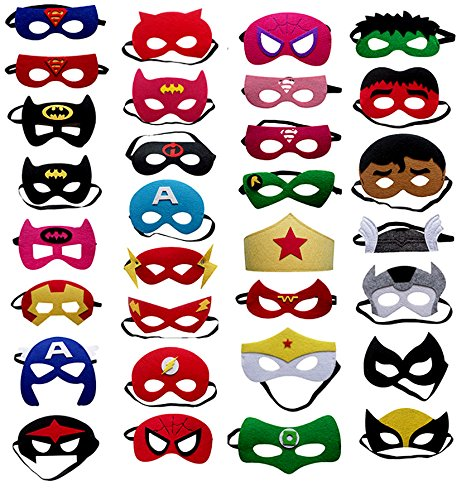 Fieston Express- 32 Pieces Super Hero Masks for Kids - For Boys and Girls - Perfect Party Favors - Assorted Styles and Colors - 3mm Thickness