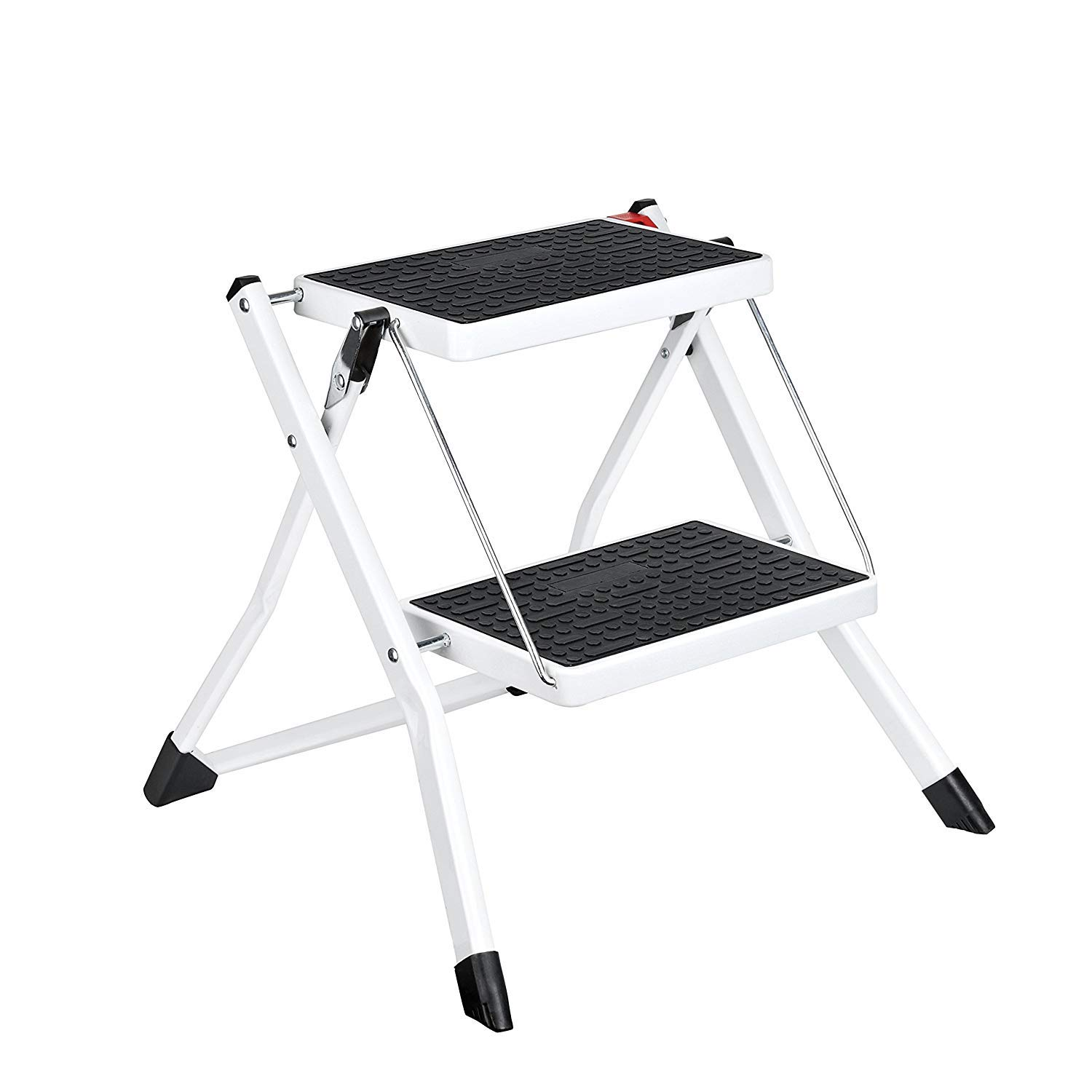 ACKO Step Stool Stepladders Lightweight White Folding Step Ladder with Anti-Slip Sturdy and Wide Pedal Steel Ladder Mini-Stool 250lbs 2-Feet #49(WK2031D) by Delxo