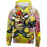 Kgtbvkg Youth Pocket Hoodies Super Ma-ri-o 3D Printed Warm Pocket Velvet Sweatshirt