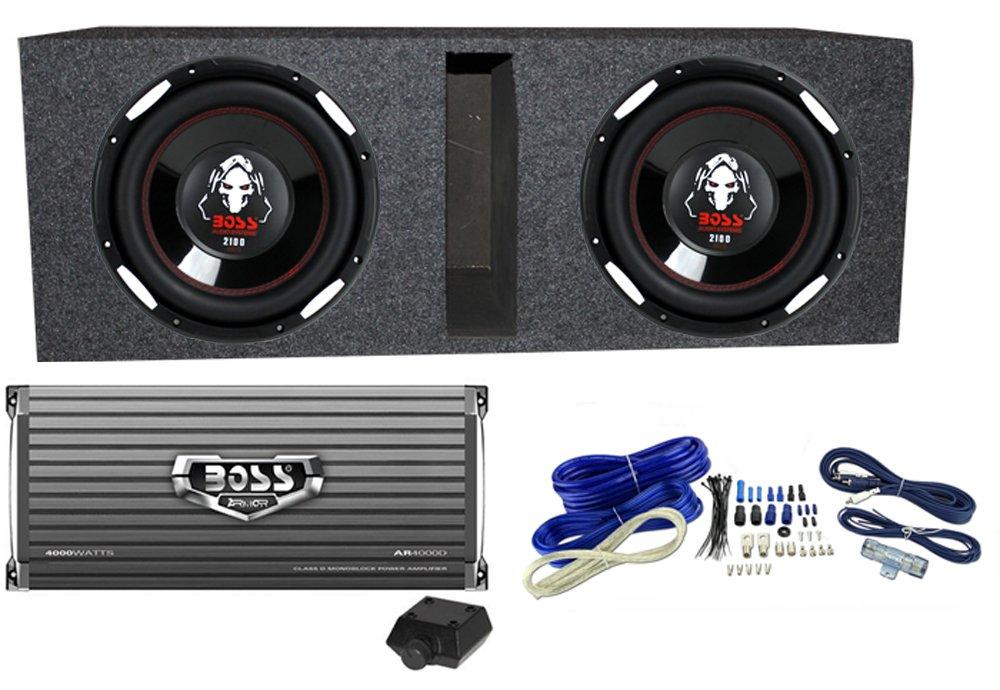 2 BOSS AUDIO P106DVC 10'' 4200 Watt Car Subwoofers+AR4000D+Amp Kit+Vented Sub Box by BOSS