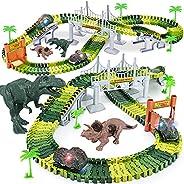 Dinosaur Toys,156pcs Create A Dinosaur World Road Race,Flexible Track Playset and 2 pcs Cool Dinosaur car for