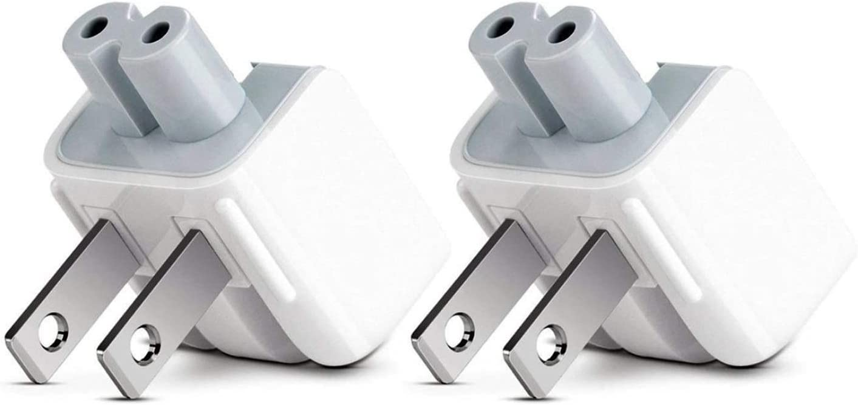 Droya AC Power Adapter Wall Folding Plug Duck Head,US Standard Plug Duck Head Compatible with MaBook Pro/MaBook Air/Mac Book/Phone/Pod AC Power Adapter (2 - Pack)