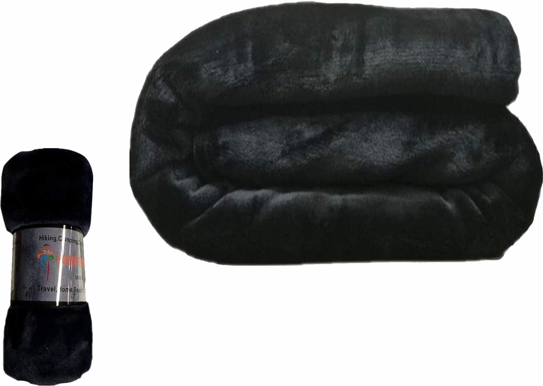 HTE Manta Microfibra Suave para Sofá y Cama, Super Caliente para Adulto y Niño,Sin Arrugas (Negro, 160 x 220 cm)
