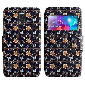 LEOCASE flor linda Funda Carcasa Cuero Tapa Case Para Samsung Galaxy S5 I9600 No.1005057
