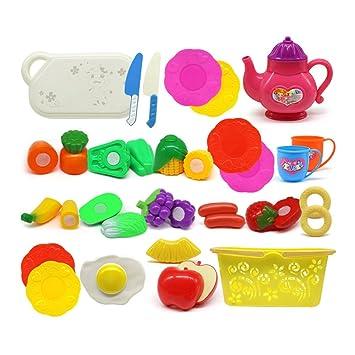 TOYMYTOY 26 piezas de Juguetes Cortar Frutas y Verduras de Plástico Juguetes Eeducativos Lindos para Niños