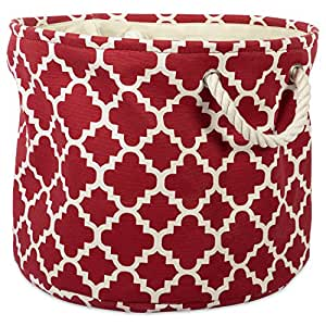 "(Small Round, Lattice Rust) - DII Collapsible Polyester Storage Basket or Bin with Durable Cotton Handles, Home Organiser Solution for Office, Bedroom, Closet, Toys, Laundry (Small Round - 9x12""), Rust Lattice"