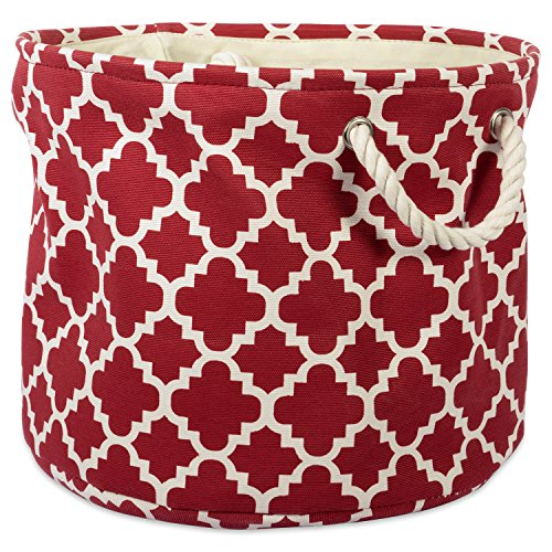 """DII Collapsible Polyester Storage Basket or Bin with Durable Cotton Handles, Home Organizer Solution for Office, Bedroom, Closet, Toys, & Laundry (Large Round – 15x16""""), Rust Lattice"""