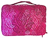 Vera Bradley Large Brush and Blush Makeup Case (Stamped Paisley with Solid Pink Interior)